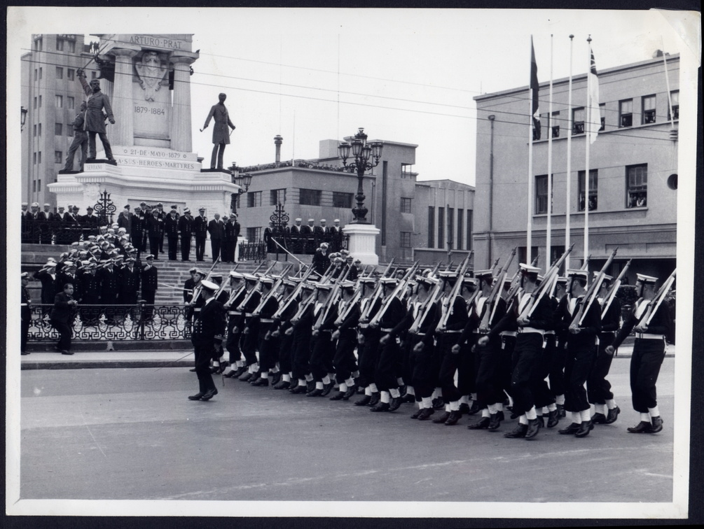 March Past at Heros Statue, Valparaiso October 1964